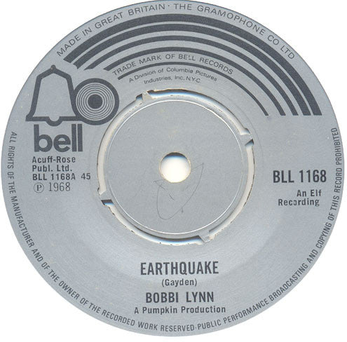 "Bobbi Lynn : Earthquake / Opportunity Street (7"", RE, Pus)"