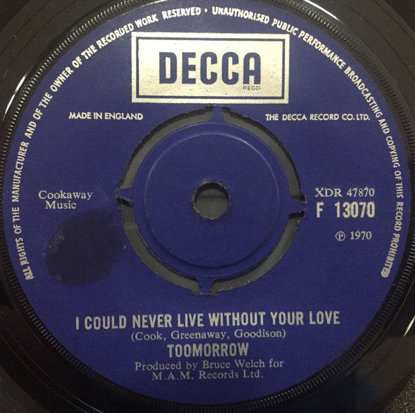 "Toomorrow : I Could Never Live Without Your Love (7"", Single)"