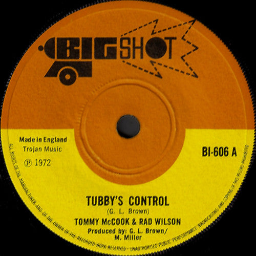 "Tommy McCook & Rad Wilson : Tubby's Control / More Music (7"")"