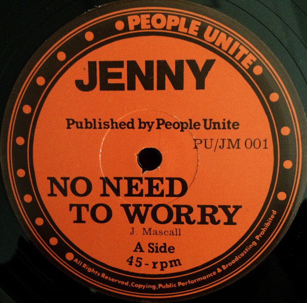 "Jenny* : No Need To Worry / Up Town Down Town (12"")"