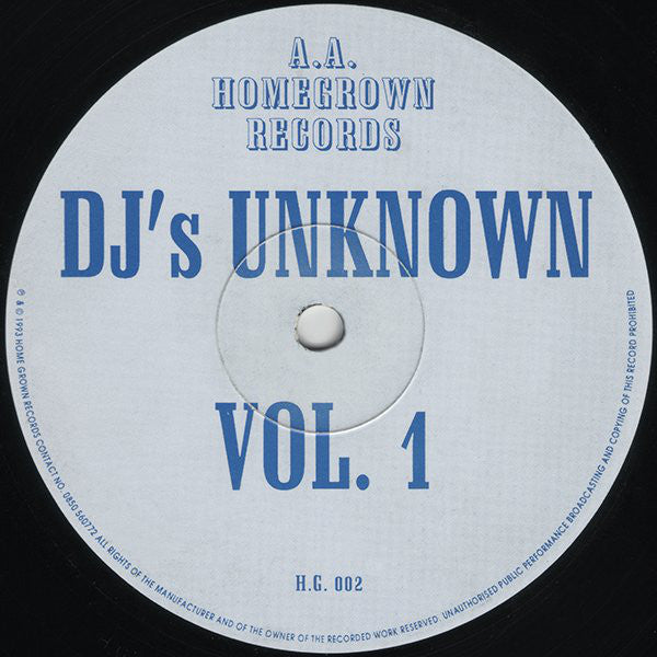 "DJ's Unknown : Vol. 1 (12"")"