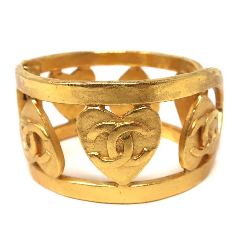 Chanel Vintage Heart Cuff Bangle