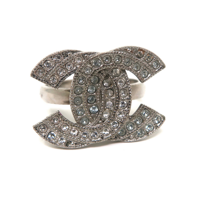 Chanel Silver Rhinestone Ring