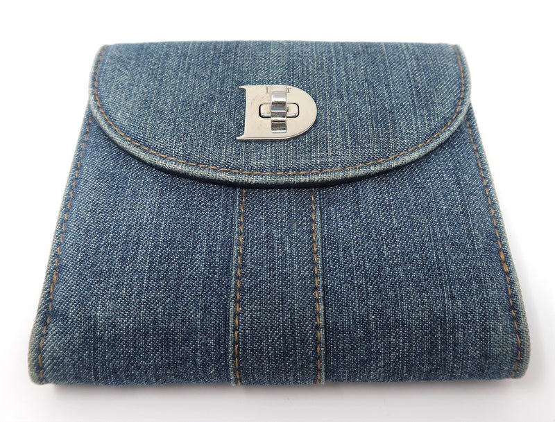 Dior Blue Denim Compact Wallet