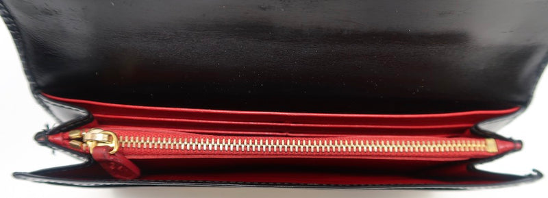 Prada Black Patent Leather Bow Wallet