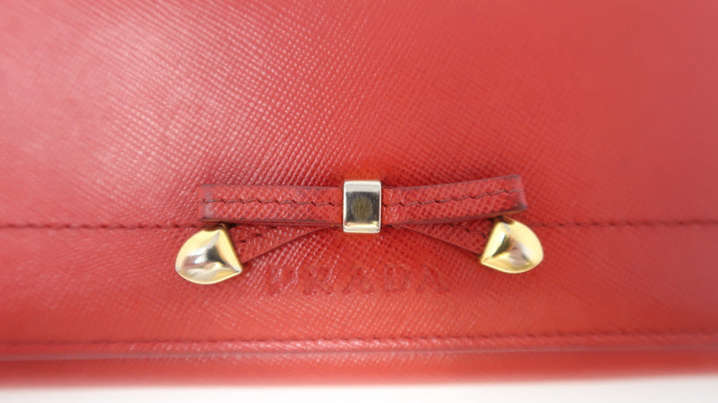 Prada Red Leather Bow Wallet