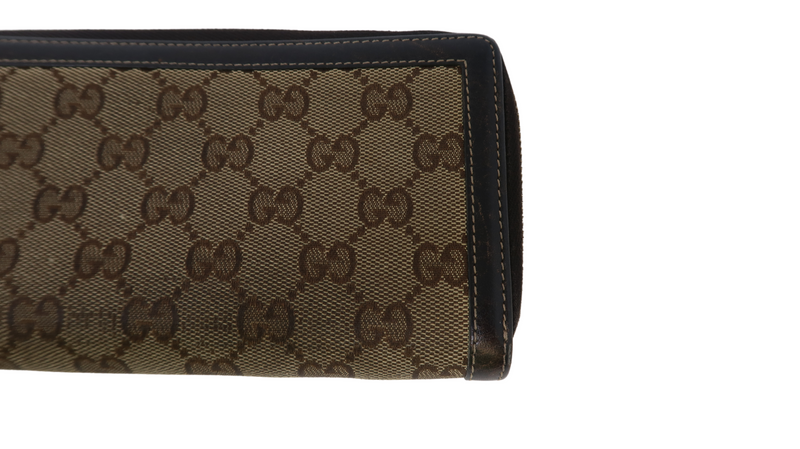 Gucci Bamboo Canvas Brown Zippy Wallet