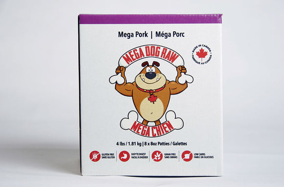 Mega Dog Raw Pork Patties 4 lbs - 24 lbs