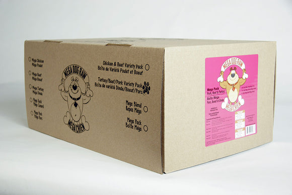 Mega Dog Raw Variety Box Chicken Free Patties 24 lb