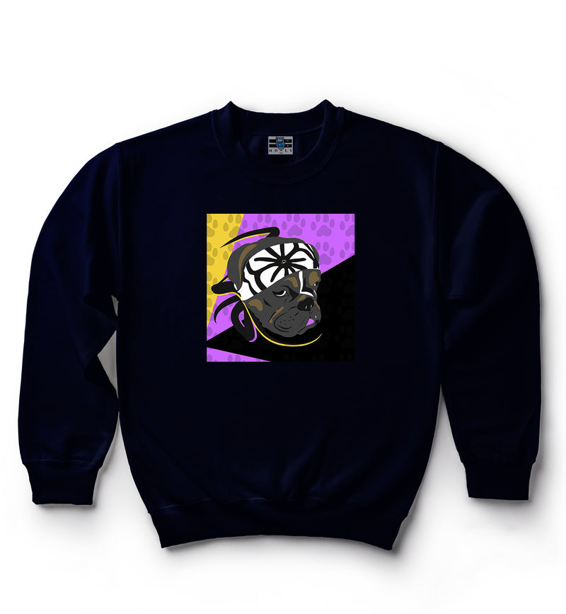 Karate Dog | Purple, Yellow & Black | Classic Crew Neck