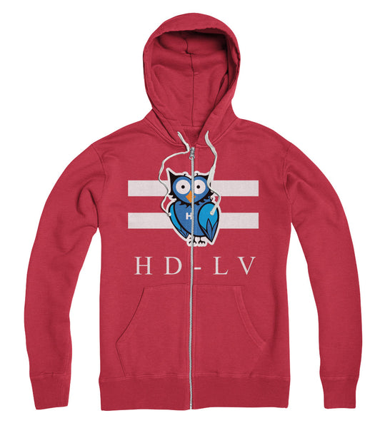 HD-LV XO i Zip Up Hoodie i Ecto Red