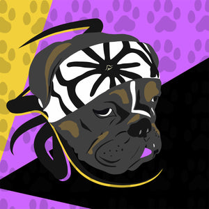 Karate Dog | Purple, Yellow & Black | T-Shirt
