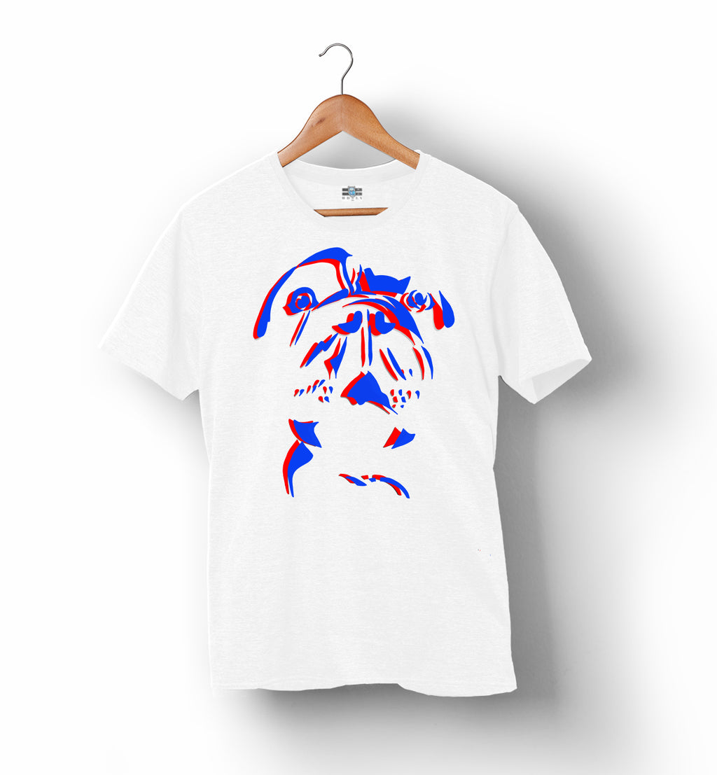 RUFF | White with Red and Blue | T-Shirt