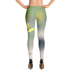 Yellow Flower Leggings for Women