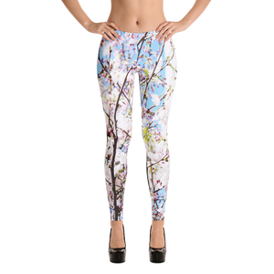 White Flower Leggings for Women
