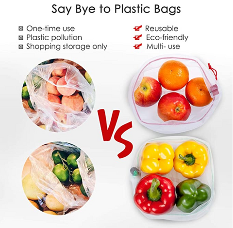 12 pc reusable mesh produce bags