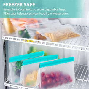 10Pcs Reusable Silicone Sealer Zip Lock Food Storage Bag Dishwasher SAFE - Ecosifu