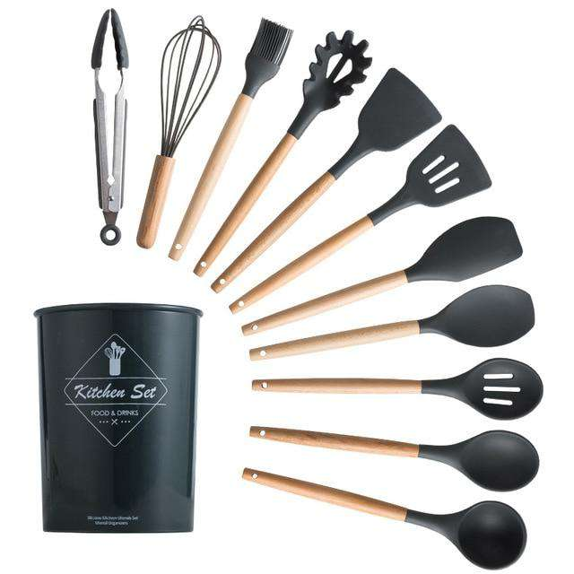 12PCS Eco-Friendly Silicone Kitchen Cooking Utensils Set Non-Stick With Storage Bucket - Ecosifu