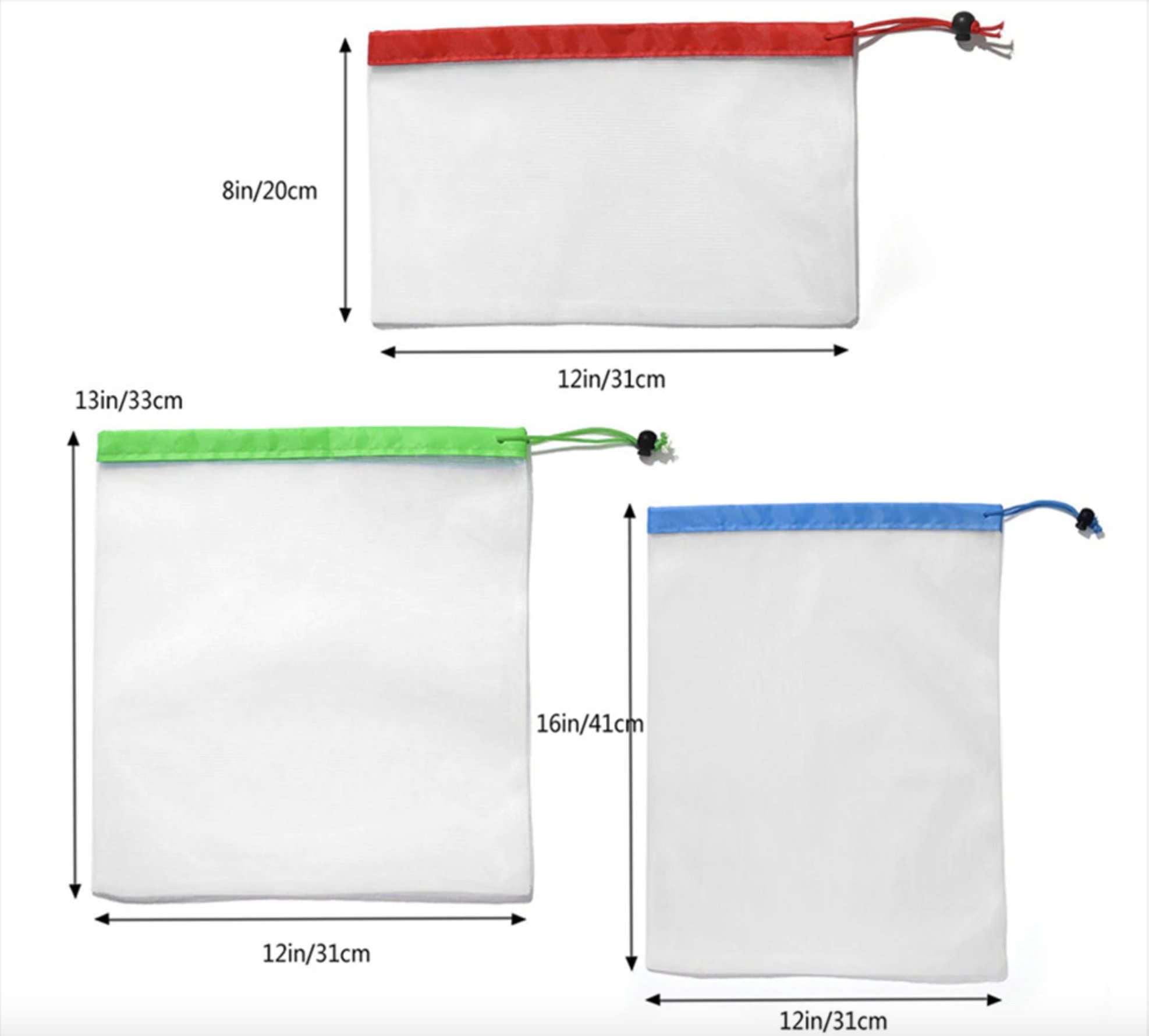 12pcs Reusable Mesh Produce Bags - Washable Eco Friendly Mesh Bags with Drawstring for Grocery Shopping - Ecosifu