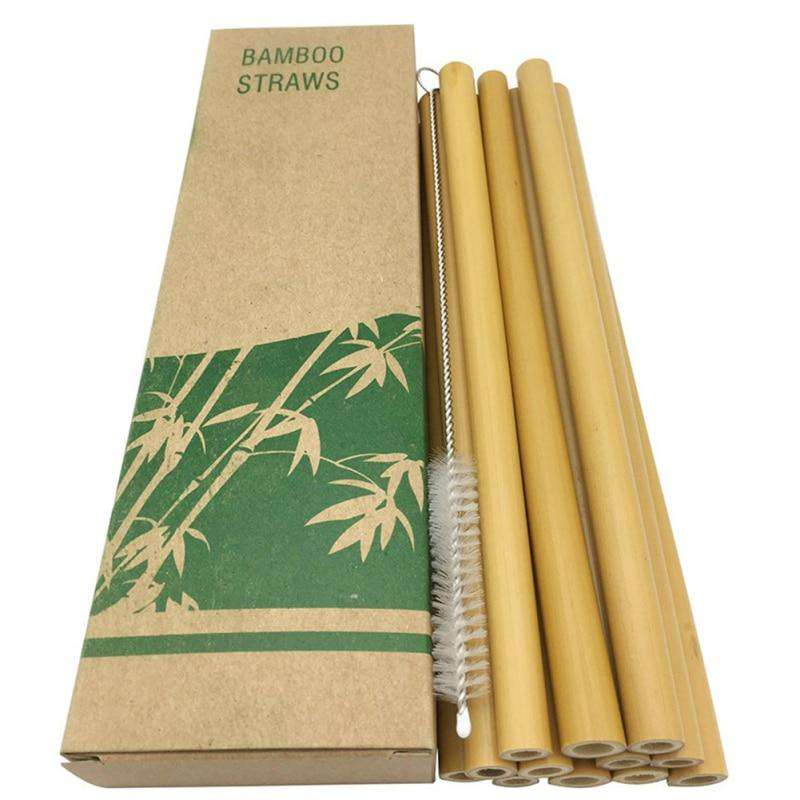 12pcs/set Reusable Eco-friendly Bamboo Drinking Straws With Clean Brush - Ecosifu