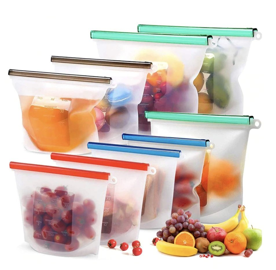 4pcs 1000ml 1500ml Reusable Silicone Food Storage Bags - Ecosifu