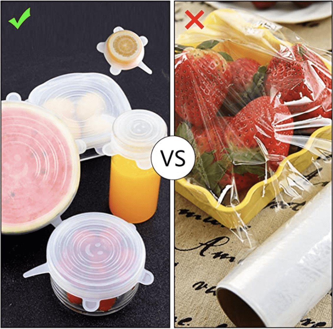 6 Pcs/Set Silicone Stretch Lids Reusable Food Covers Best Silicone Lids