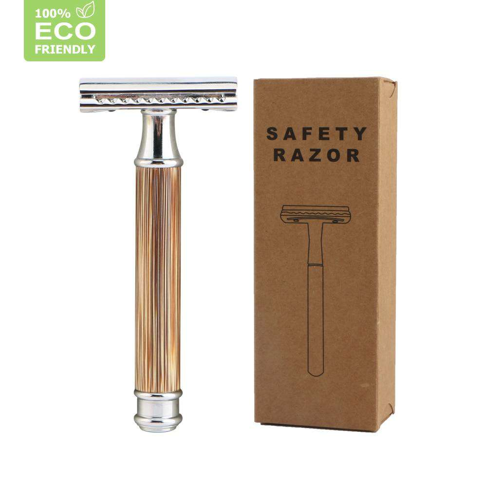 Eco Friendly Razor Double Edge Safety Razor With Natural Bamboo Handle Includes 10 Blades For Men Women - Ecosifu
