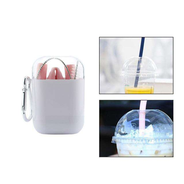 Reusable Collapsable Silicone Drinking Straw For Juice Coffee Tea Smoothies Cocktails Beer With Carrying Case and Cleaning Brush - Ecosifu