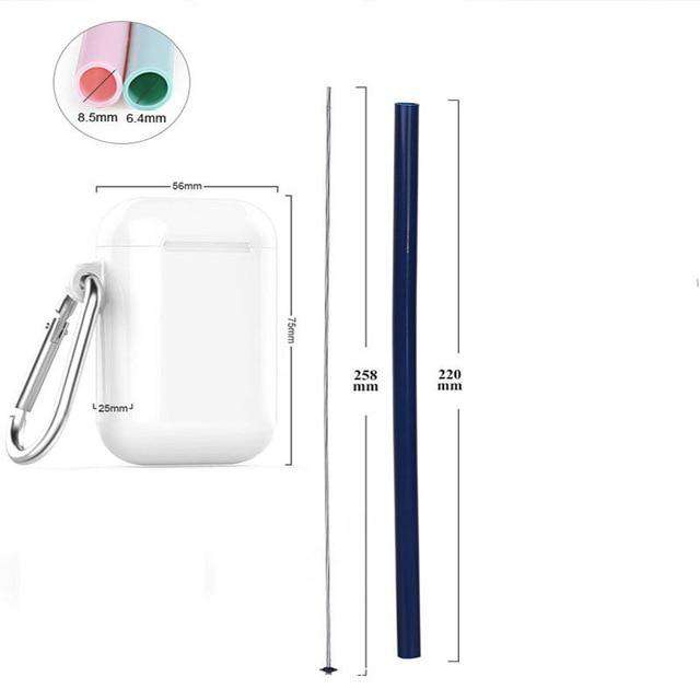 Reusable Food Grade Silicone Straw Portable Foldable Drinking Straw With Luxury Carrying Case and Cleaning Brush - Ecosifu