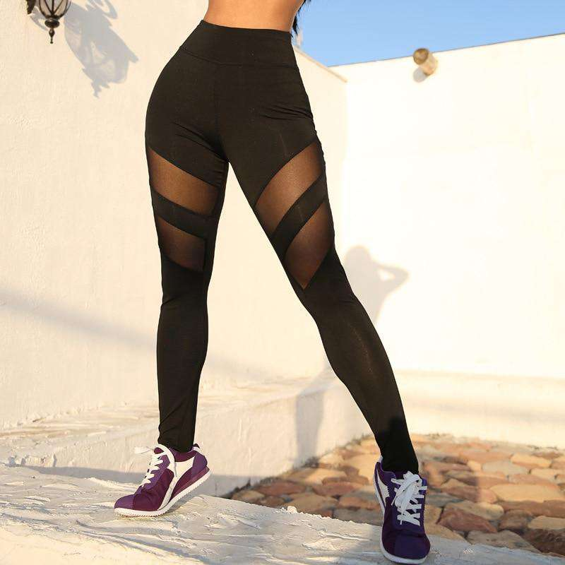Womens Mesh Sport Leggings High Waist Push Up Yoga Pants Plus Size S-XL - Ecosifu