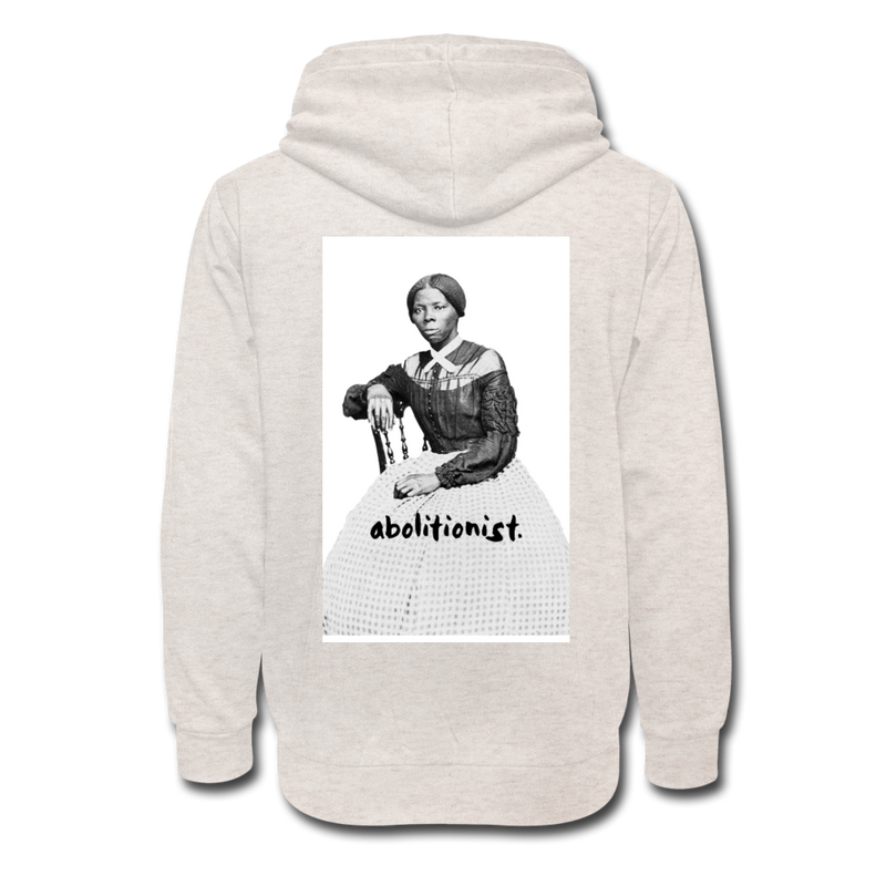 """Abolitionist"" Shawl Collar Hoodie (Tubman Back) - heather oatmeal"