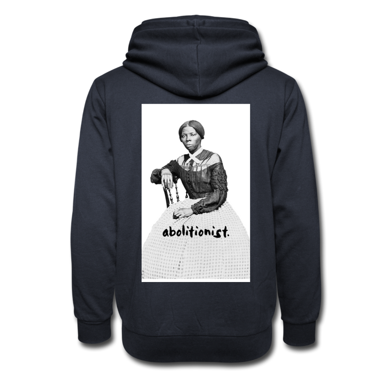 """Abolitionist"" Shawl Collar Hoodie (Tubman Back) - navy"