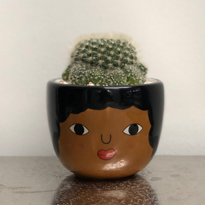 Chantelle Ceramic Face Planter - Cactus Planting Kit