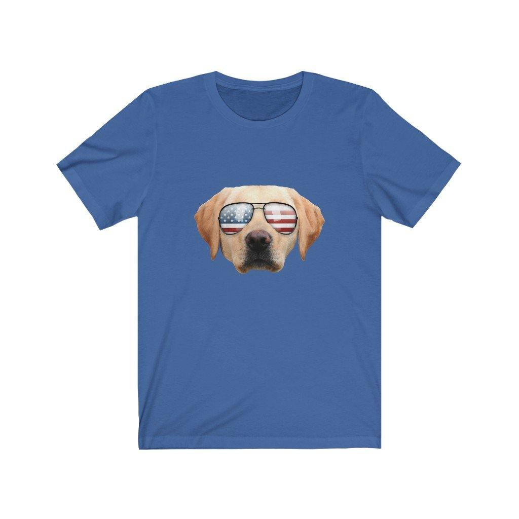 Funny Cute Patriotic Yellow Lab Sunglasses Dog T-Shirt by Best Trump Shirts