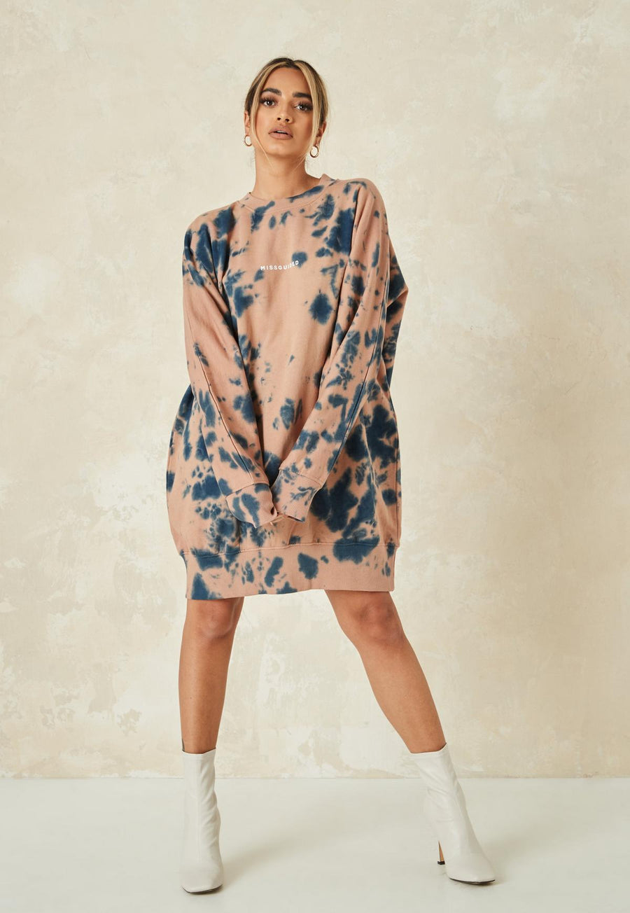 Brown tie dye perfect size oversized sweater dress