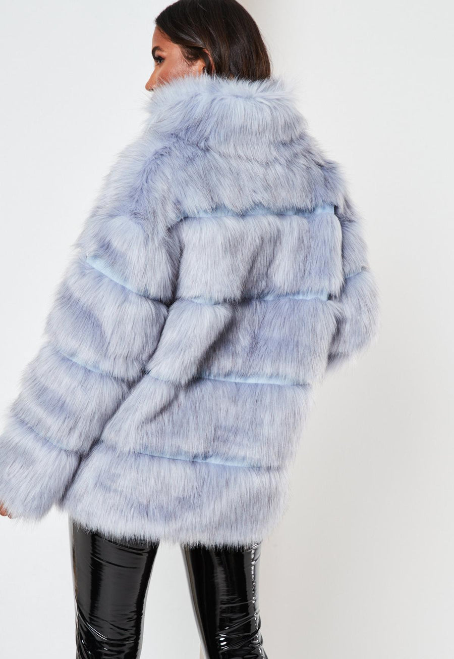 Blue pelted faux fur high collar coat