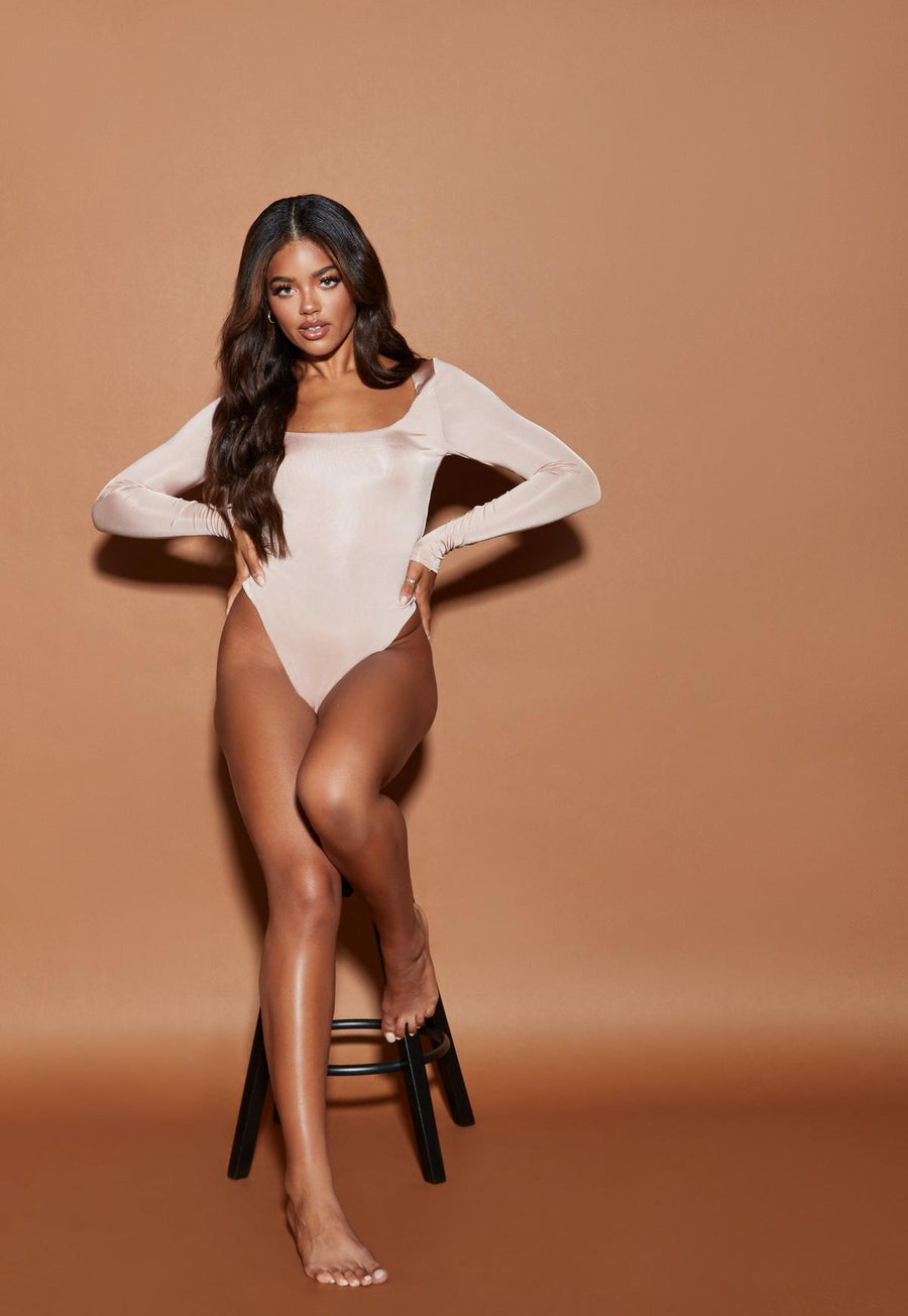 Nude rose sculpted slinky square neck bodysuit