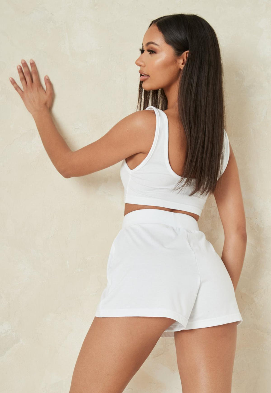 Petite white jersey crop top and shorts co ord set