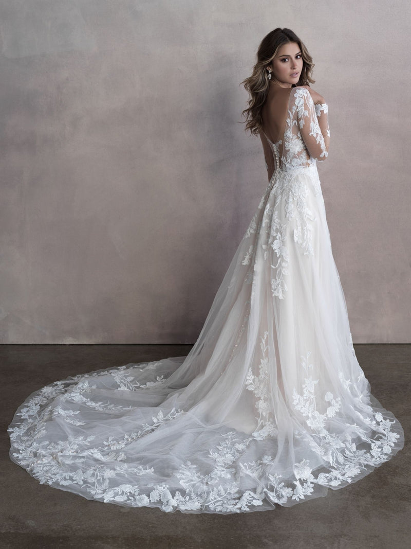 Allure Bridals Style 9806 Lace Illusion Sleeves
