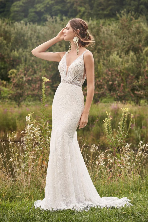 Lillian West #66136 - Unique Lace, Beach, Boho Bridal Gown