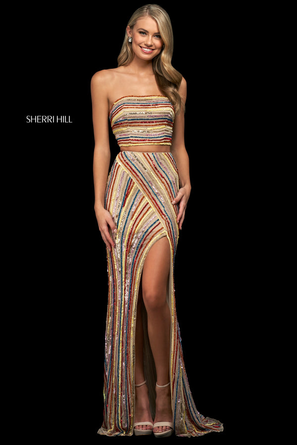 Sherri Hill #54125 Striped Beaded and Sequin Two-Piece Gown