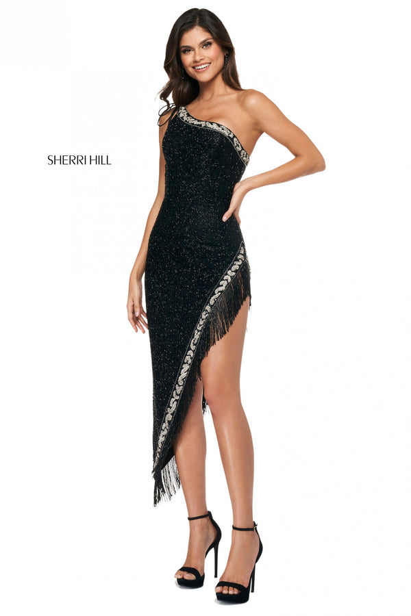 Sherri Hill #54131 One Shoulder Beaded Fringe Dress