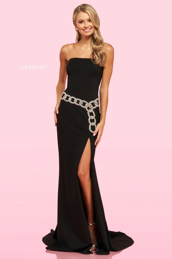 Sherri Hill #54200 Black Scuba Gown with Chain Belt