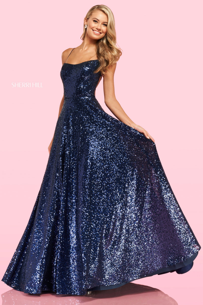 Sherri Hill #54260 Sequin Spaghetti Strap Ball Gown