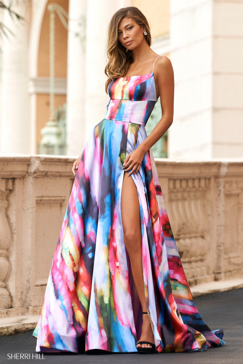 Sherri Hill #54270 Water Color Print Dress