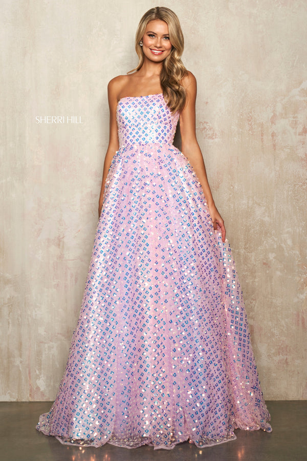 Sherri Hill #54279 Pink Sequin Patterned Ball Gown