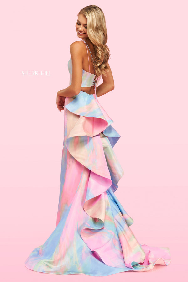 Sherri Hill #54281 Spring 2021 Tie-Dye Two Piece Gown