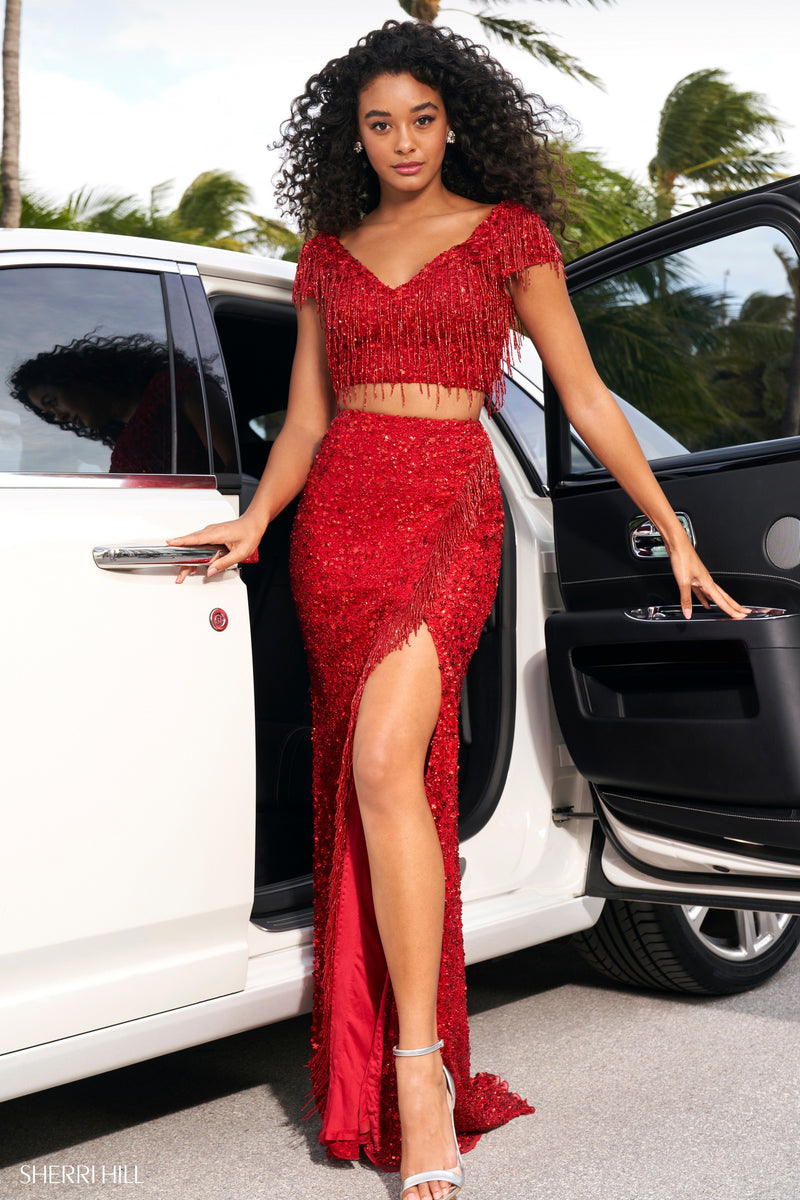 Sherri Hill #54365 Two Piece Beaded and Sequin Fringe Gown