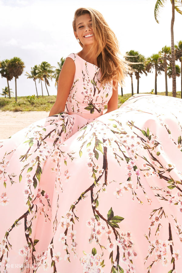 Sherri Hill #54380 Dogwood Print Prom Dress