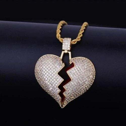 CZ Broken Heart Necklace